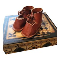 Vintage Brown Leather Doll Shoes