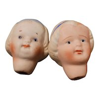 Pair of Antique Bisque Nippon Doll Heads