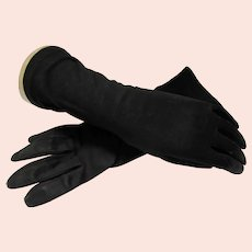Black Gloves Above the Wrist Made in Italy 100% Cotton