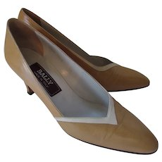 Bally High Heels Made in italy Real Leather Mustard & Cream Size 8 M