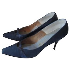 Elegant Midnight Blue Satin  Spike Heels Saks Fifth Avenue Fenton Last 8a