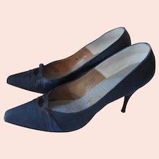 Elegant Midnight Blue Satin  Spike Heels Saks Fifth Avenue Fenton Last 8a