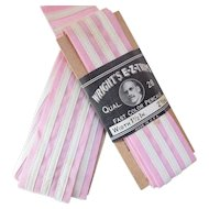 Wright's E Z Trim Early 20th Century Sewing Tape in Pink and White for Authentic Repair and Doll Clothing