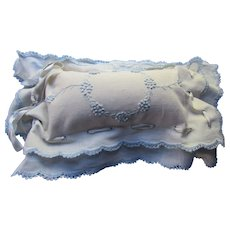 Vintage Pincushion in White with Blue Embroidery Double Ruffle Edge Blue Satin Ribbon