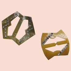 Pair Belt Buckles Deco Style Celluloid & Rhinestones Sage Butterscotch