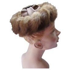 Mid Century Mink & Satin Hat Pill Box Style Open Crown
