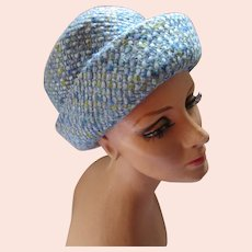 Mid Century Hat Shades of Blue Hint of Lime Boucle