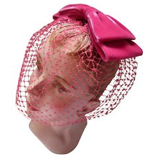 Whimsy Hat in Fuchsia Velvet Bow and Cage Veil