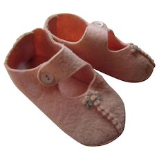 Baby Shoes Doll Shoes Pink Felt  Mary Jane Style Embroidered Blue Flowers Free Shipping USA