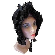 Victorian Style Crochet Black Bonnet Ruffles & Ribbons