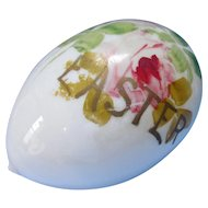 Victorian Era Easter Egg Hand Blown Glass with Pink Roses and Gold Paint Greeting