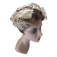 Mid Century Half Hat Latte Tone Cello and Shantung Spring & Summer
