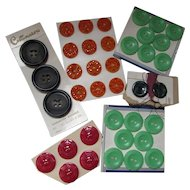 Vintage Plastic Buttons on Original Cards Red Green Orange Mid Century Free Shipping USA