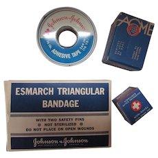 Vintage Bandage Tins and Boxes Johnson & Johnson Acme Cotton American White Cross Free Shipping USA