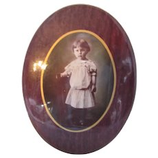 Victorian Era Girl Child Photograph Metal Oval Frame
