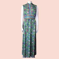 Yves Jennet 1970 Era Maxi Dress in Spinach Green with Scattered Flowers in Blue and Coral Size 12