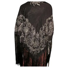Fringed Shawl or Piano Scarf in Black Silver Metallic Thread Early 20th Century