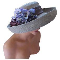Wide Rolled Brim Dove Gray Straw Hat Lilac Flowers Nordstrom