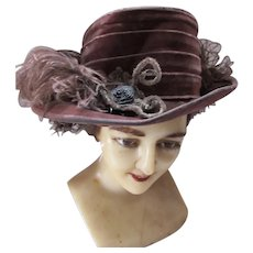 Edwardian Era Hat Wide Brim High Crown Brown Velvet Ostrich Plumes
