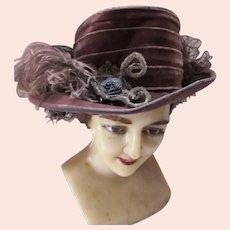 Edwardian Era Hat Wide Brim High Crown Brown Velvet Ostrich Plumes