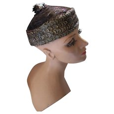 Fabulous Feather Pill Box Hat Shimmering Teal Brown Rust Navy