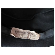 Black Felt Hat Silver Bead Decorative Tab Charming Lady Glenover Hats