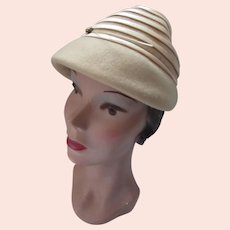 Tan Felt Hat Beehive Style Satin Bands Glenover Henry Pollak
