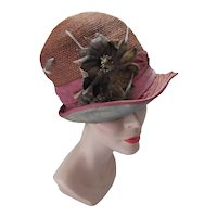 1920 Era Straw Cloche Hat Velvet Flower Embellishment For Salvage As Is