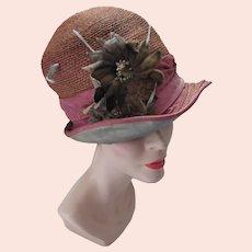 1920 Era Straw Cloche Hat Velvet Flower Embellishment For Salvage As Is