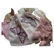 1920 Era Embroidered Butterfly Work Bag Complete with Contents Crochet Pieces Thread Tatting As Found