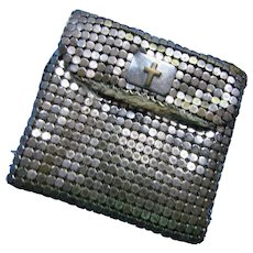 Mesh Rosary Bag in Silver Tone with Cross Snap