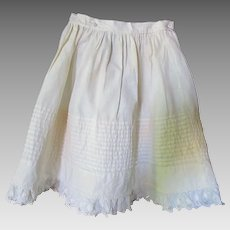 Infant or Large Doll Early Petticoat in White Cotton with Pin Tucks and Eyelet