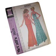 Uncut McCalls Pattern 3629 1973 Dress or Top Pants for Unbondable Stretchable Knits Size 12 Free Shipping USA