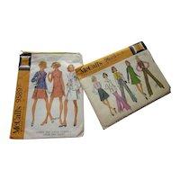Pair McCalls Misses & Junior Patterns 1968 1969 Size 7 Size 5