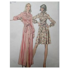 Simplicity 5909 1973 Pleated Dress Front Button Close Top Stitching Uncut
