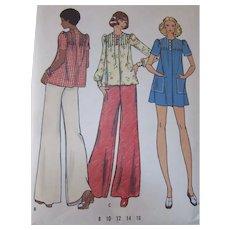 Butterick Sewing Pattern Dress Pants Top #3067 Size 10 1960's Uncut
