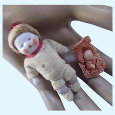Pair Miniature Baby Dolls Bisque & Plastic