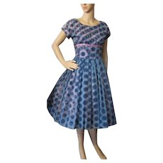 Sweet 1950 Era Cocktail or Dance Dress in Navy Polka Dot Chiffon over Pink and Navy Polka Dot