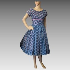 Sweet 1950 Era Cocktail or Dance Dress in Navy Polka Dot Chiffon over Pink and Navy Polka Dot