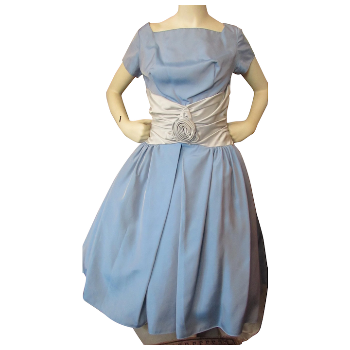 61204961c59 1950 Era Prom or Cocktail Dress in Baby Blue Taffeta Icy Blue   Maude s  Vintage Ware