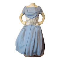 1950 Era Prom or Cocktail Dress in Baby Blue Taffeta Icy Blue Cummerbund and Full Skirt