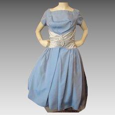350f7ccf0ab 1950 Era Prom or Cocktail Dress in Baby Blue Taffeta Icy Blue Cummerbund  and Full Skirt
