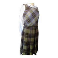 1960 Era Bobbie Brooks Plaid Top & Skirt Brown & Purple