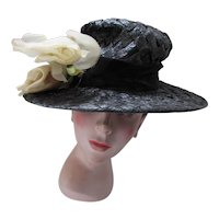 Mid Century Wide Brim Hat Black Woven Cellophane Pair Large White Roses