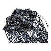 Victorian Era Black Beaded Passementerie Bead Fringe