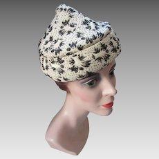 Mid Century Peak Cone Shape Hat in Brocade Cream Tone Black Gold Metallic Pattern