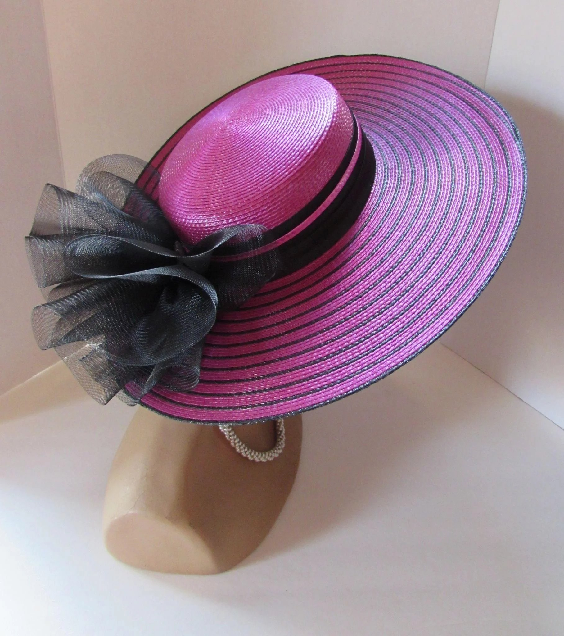 Jaunty Wide Brim Church Or Derby Hat In Stripes Of Fuchsia