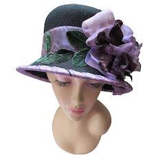 Extravagant  Black Felt Hat with Lavender Blossoms Anne Karol Designer Doeskin Bollman Brand