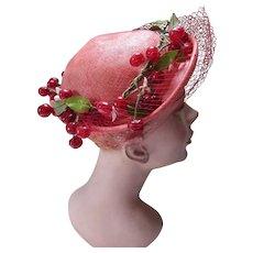 Sweet 1950 Era Topper Hat in Red Cherry Trim by Modiste