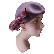 Unusual Beret Style Hat in Smoky Lavender with Colorful Faux Bird by Frank R. Jelleff